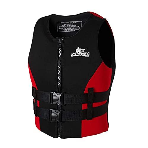 JYMEI Chaleco de natación Chaleco Chaleco Chaleco para Adultos para Adultos Kayak Paddle Boarding, Natación Snorkel Flotation Chaqueta de Seguridad,Rojo,L