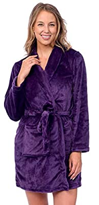 Patricia Womens Knee Length Ultrasoft Plush Shawl Collar Robe with Tie
