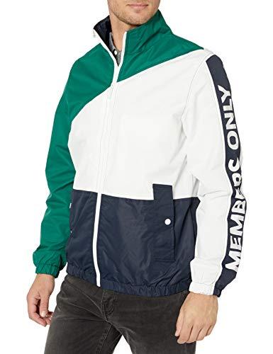 Members Only Men s Nautical Colorblock Windbreaker Jacket, Green, XXL