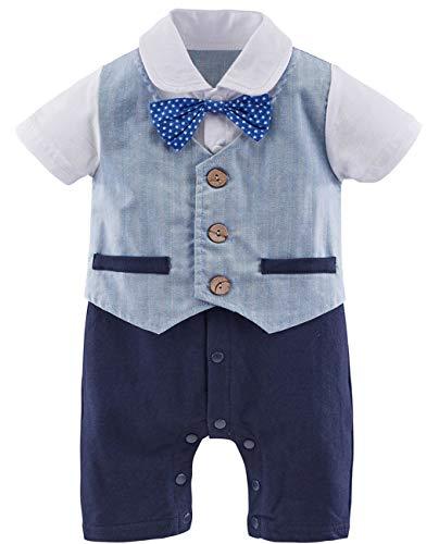 A&J DESIGN Säugling Herren Strampler Overall Baby Jungs Hochzeits Smoking Outfits (Blau-1, 18-24 Monate)
