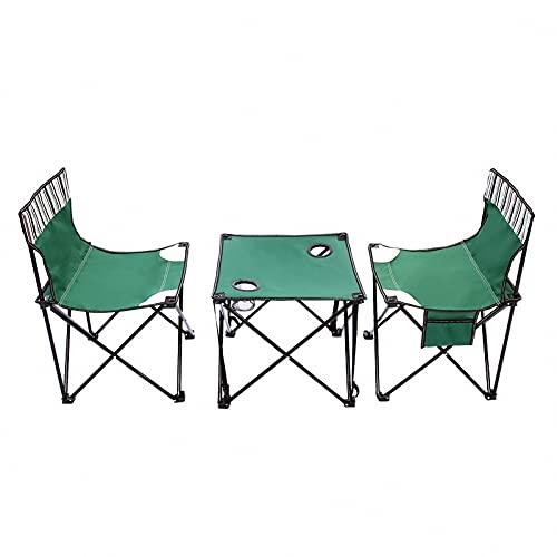 BIANGEY Conjunto de Mesa y Silla Plegables para Acampar, 2 sillas y 1 Mesa con Malla y Bolsa de Asas, utilizados para la Barbacoa de Camping, Pareja de Vacaciones, Fiesta de la Piscina,Verde