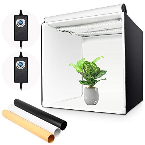 Yorbay Fotostudio Set 60 x 60 x 60cm LED-Fotobox Lichtbox Lichtwürfel Profi Fotografie Lichtzelt inkl. 3 PVC-Hintergrundfolien (schwarz, rein weiß,...