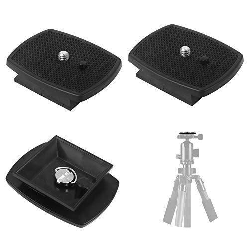 3 Stück Kamera Schnellwechselplatte, Schnellspanner Montageplattform aus Kunststoff für 1/4 Schraubengewinde Stativ-Schnellwechselplatte und Mehr Modelle für Kamerastativ (Schwarz, 4,3 x 4,3 cm)