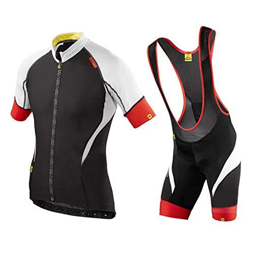 Fietsset voor heren met volledige ritssluiting voor de zomer, fietsshirts voor buiten met korte mouwen en 9D gewatteerde fietsbroek met bretels