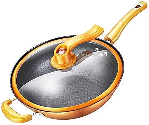 Stekpanna Wok kastrull gjutjärn kastrull stekpanna stekpanna för induktionshällar med glaslock med dubbla sidohandtag non-stick stekpanna gratis skicka Svampguld
