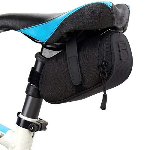 Bolsa para sillín de bicicleta, resistente al agua, para bicicleta, para carretera, montaña, bolsa de herramientas para viajes, bolsa de almacenamiento de herramientas para ciclismo, color negro
