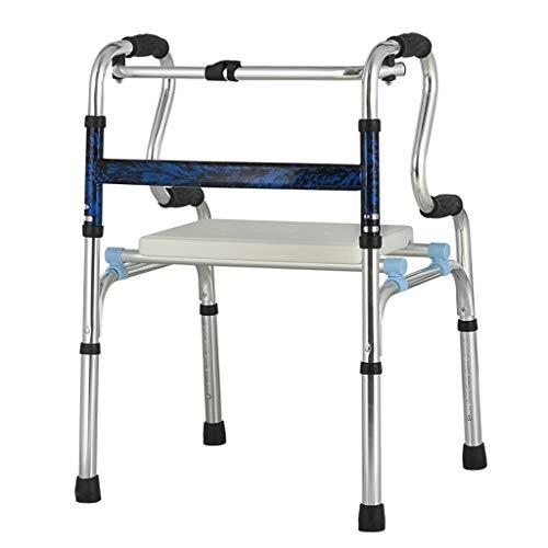 ZXXX Andador para Ancianos sin Ruedas, Andador Plegable Ligero, pasamanos, Ajustable, discapacitados Ancianos (aleación de Aluminio)