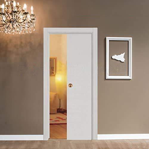 Porta porte scorrevole scomparsa interno muro da 80x210 bianca con serratura