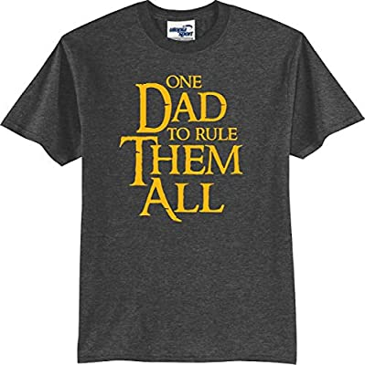 One Dad to Rule Them All Funny T-Shirt (S-5X) (Medium, Dark Heather) by