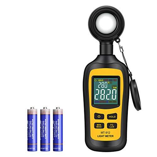 URCERI Medidor de Luz, Luxómetro Portátil, Medidor de Luminosidad Rango 0-200,000 Lux; 0~20,000 FC, con Pantalla LCD a Color de 4 Dígitos, Batería Incluida