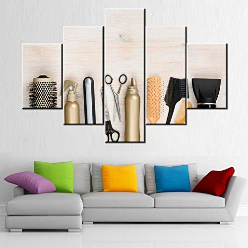 Wall Art for Living Room Barber Salon Pictures Hairdressing Accessories Paintings 5 Panel Prints...