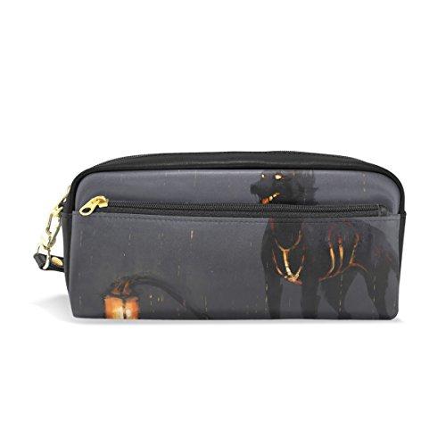 Eslifey tragbare Tasche mit schwarzer Laterne Hund PU Leder Schulstifteetui, Stifteetui, Stifteetui, Wasserdicht, Kosmetiktasche, Make-up, Beauty Case