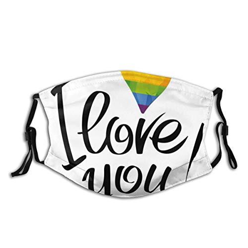 MundschutzAtmungsaktiveGesichtsmundabdeckungStaubdichter,I Love You Letters with Polygonal Effect Rainbow Color Valentines Gay Couples,Gesichtsdekorationen