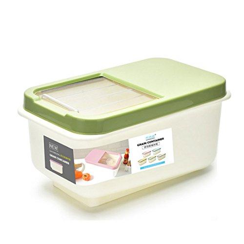 Teckpeak Boîtes à Riz Rectangle Rangement Alimentaire Conteneur Scellé en Plastique pour Cuisine, 8KG Loaded - Vert