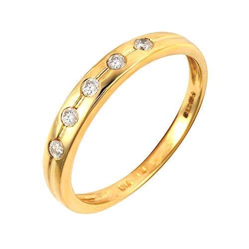 Bague - 108R3012-01 - Anillo de mujer de oro amarillo (9k) con diamantes (talla: 18)
