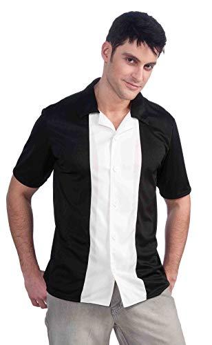 Forum Novelties Men's Fabulous 50's Bowling League Costume Shirt, Black/White, Large