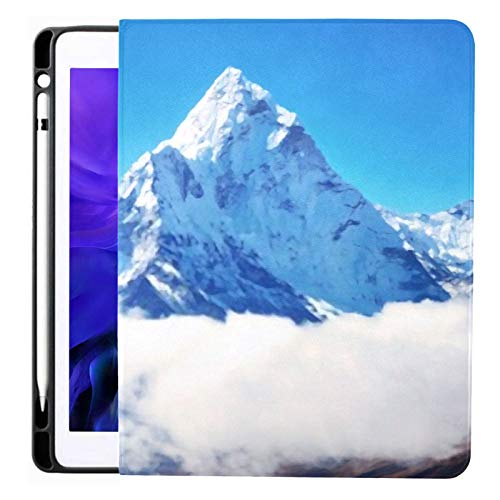 Case for Ipad Pro 12.9 Inch (2020/2018 Release) with Pencil Holder, Full-Body Trifold Stand Protective Case Smart Cover with Auto Sleep/Wake, Mountain Peak Everest Highest World National