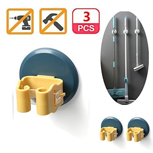 Meiyijia Portascope e Portaspazzole Muro Montato, Robusto Strumento Rack di Stoccaggio Salvaspazio per Cucina, Plastica ABS - 3 Pezzi - Blu