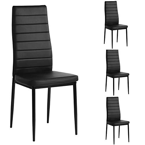 Aingoo PU Leather Dining Chairs Set of 4, Modern Kitchen Chair with Ergonomic Curved Back and Steel Frame,Black