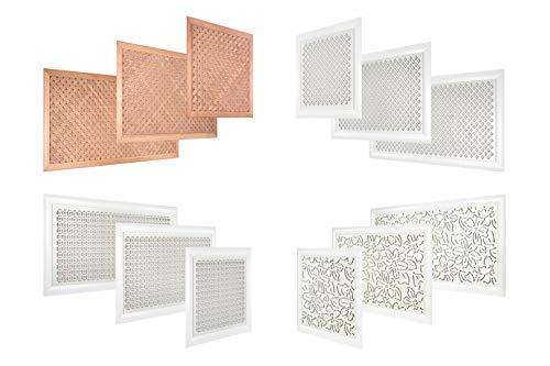 Heizkörperverkleidung aus hitzebeständiger MDF Platte - 120x60 cm Abdeckung für Heizung, modern - Lüftungsgitter in verschiedene Größen (Quadro 10-20 L)