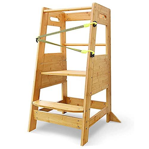 X XBEN Lernturm Ab 1 Jahr Höhenverstellbar,Natural Bamboo Montessori Lernturm Kinder Küche,Learning Tower Helfen Sie Ihren Kindern, zu üben und mehr Selbstvertrauen zu gewinnen