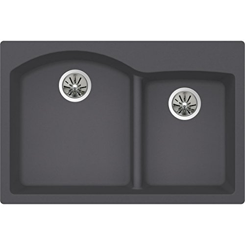 Elkay Quartz Luxe ELXH3322RCH0 Charcoal Offset 60/40 Double Bowl Top Mount Sink with Aqua Divide