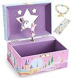 Unicorn Girls Musical Jewelry Box With Star Shaped Mirror, Spinning Unicorn and Unicorn themed Bracelet & Stickers