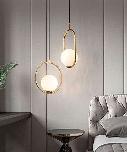 Nordic Lampada a sospensione/Lampadario in ferro leggero Lampadario a sfera in vetro moderno Creativo per camera da letto/soggiorno/ristorante/bar, forma ovale -Goldn.
