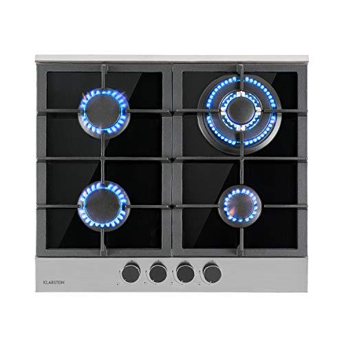 Klarstein Alchemist - Placa de cocina de gas, Autárquico, Quemadores de aluminio, Gas natural/butano, Soportes de hierro fundido, Superficie de vitrocerámica, Mandos giratorios, 4 fogones, Negro