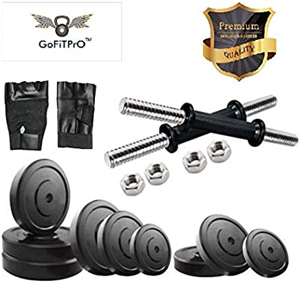 GoFiTPrO 31 KG Rubber Weight Home Gym KIT with Two Dumbbell and Gloves