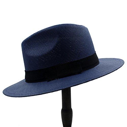 Chlyuan Chlyuan Panama-Fedora-Cap mit breiter Krempe Frauen Sonnenhut für Elegante Dame Gentleman Gangster Trilby Fedora Beach Dad Cap (Farbe : 2, Größe : 56cm-59cm)