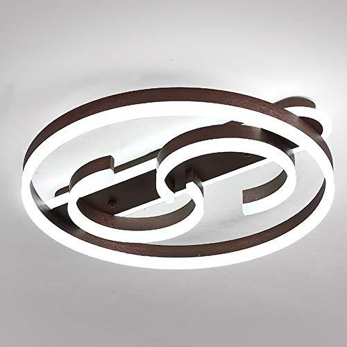 Lámpara redonda moderna de 73 W con mando a distancia y graduación continua, acrílico con pantalla de metal, iluminación de techo, para salón, cocina, estudio, comedor, color marrón