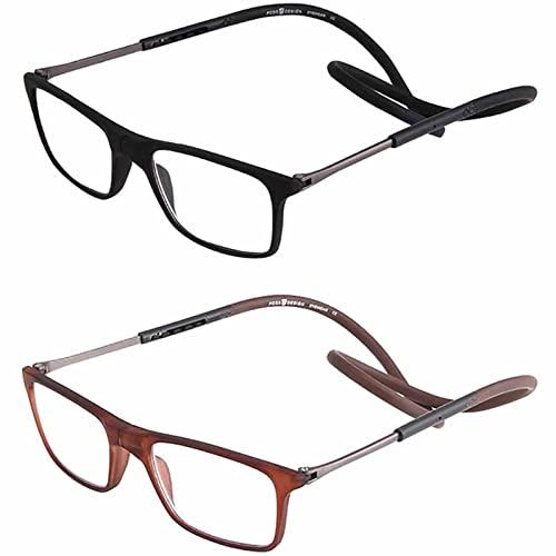 YSDQ Gafas de Lectura magnticas Lector De Conexin Frontal Ajustable Colgante Ayuda De Lectura TR Magntica para Hombres Y Mujeres, 2 Paquetes