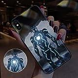 Étui Avengers Iron Man Spider-Man en Verre émettant De La Lumière, Coque Souple en Silicone pour Iphone 7p, 8p, X, XS, XR, Xsmax A-iphone x