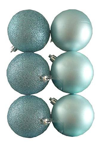 Toyland 6 x 80 mm Ice Blue/Baby Blue Glitter + glitter opaco per albero di Natale
