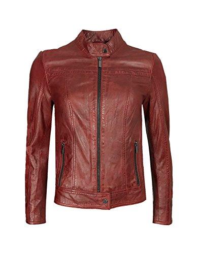 Feminine Milestone Damen Lederjacke Übergangsjacke Atara Rot Schwarz Echtes Leder Stehkragen Gr. 36 - 46 (42, Rot)