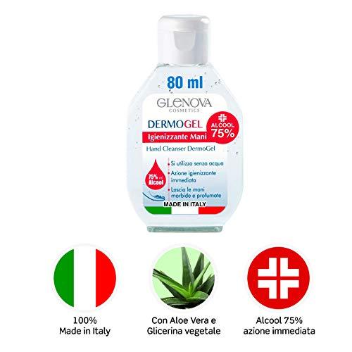 6 Flaconi Gel per Mani GLENOVA 80 ml Alcool 75% DermoGEL Igienizzante Antibatterico Tascabile Alcolico Aloe Vera Profumato Efficace Contro Germi Batteri 100% Italiano (6x 80ml)