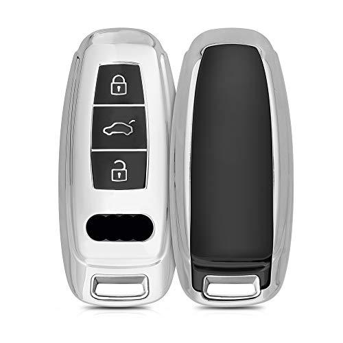 kwmobile Autoschlüssel Hülle kompatibel mit Audi A6 A7 A8 Q7 Q8 3-Tasten Autoschlüssel Keyless - TPU Schutzhülle Schlüsselhülle Cover in Hochglanz Silber