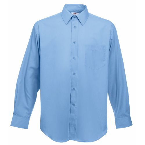 Fruit of the Loom Fruit of the Loom Herren Long Sleeve Poplin Shirt Freizeithemd, Blau (Mid Blue), Small