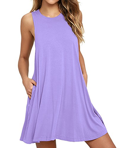 HiMONE Women's Summer Sleeveless Casual Loose Swing T-Shirt Dress with Pockets Lavender X-Large