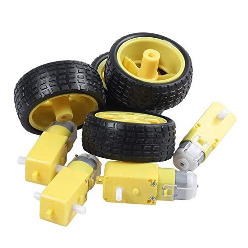 Mikro 4 Stück for Arduino Smart Car Roboter Kunststoff-Reifenrad mit DC-3-6V-Getriebemotor für Modell DIY Engine...