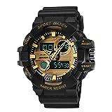 Hombre Relojes, L'ananas Deportes Multifuncional Militar Tropas Especiales LED Relojes de Pulsera Men Watches Wristwatches (Negro+Oro)