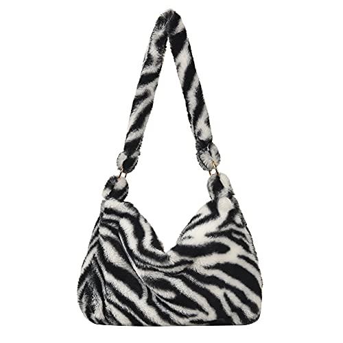 SOBW Bolso bandolera para mujer, estilo moderno, para mujer, con estampado de animales, de peluche, para hombro, informal, gran capacidad, bolso de mano, Patrón de cebra., 300*200*60mm