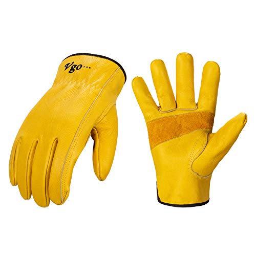 Vgo 1-Pair Unlined Cow Grain Leather Work and Driver Gloves with Cow Split Leather Palm Patch (Size XL, Gold, CA9590)