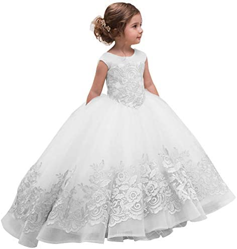 ABAO SISTER Elegant Flower Girl Dress for Wedding Kids Sleevelesss Lace Pageant Ball Gowns 4 product image