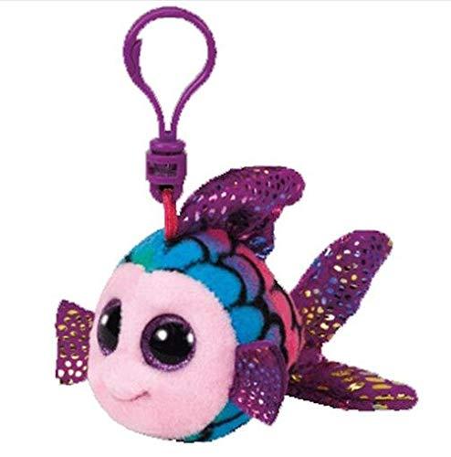 "Ty Beanie Boos Big Eyes Plush Dog Keychain Doll Unicorn Penguin Leopard Owl Monkey Clip Toys 4"" 10cm (Rainbow Fish K) -  Green Riverside"