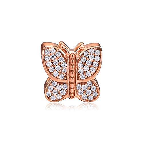 Pandora 925 Sterling Silver DIY Jewelry Charmbutterfly colgante de joyería que hace cuentas hechas con rosas y baratija transparente para pulsera hecha a mano