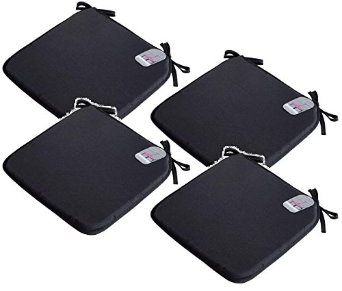 EHD Set of 4 Seat Pads With Ties Luxurious Quilted Seat Pads For Indoor Outdoor Garden Patio Kitchen & Office Chairs (Black)