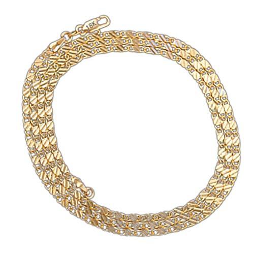 Boburyl Femmes Fille Plat Lien Curb chaîne plaqué Or 18 carats Cuban Link Chain Collier en Argent plaqué Bijoux Cadeau