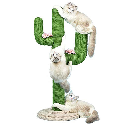 WUFENG Cat Climbing Frame, 31 Zoll großer Cactus Cat Scratching Post mit Sisalseil, Cat Scratch Board Cat-Lernspielzeug, geeignet für alle Katzen
